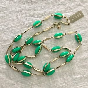 NWT🎀 J. CREW Green & Silver Tone Long Necklace